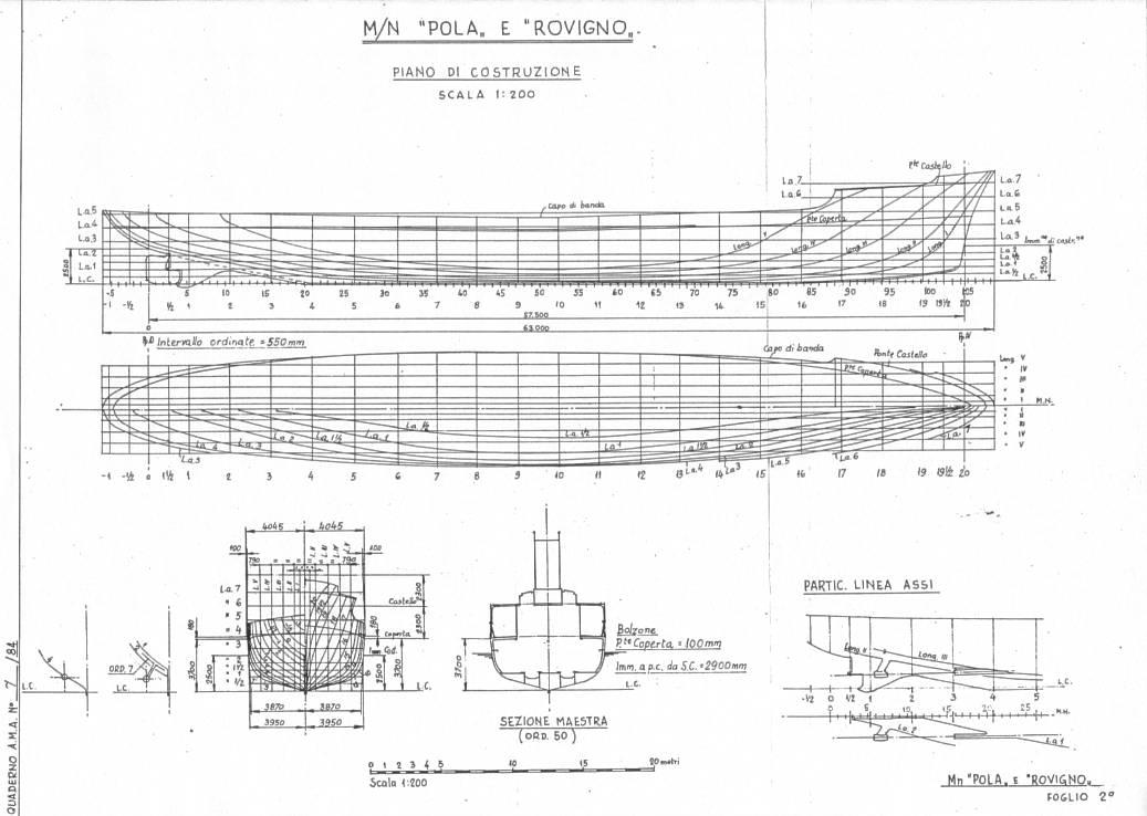 Le motonavi gemelle pola e rovigno for Come disegnare piani di costruzione