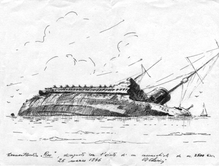 il Rex disegnato dal vivo il 26 marzo 1946